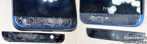 Разборка HTC E8 и замена динамика c AliExpress - отклеивание панелей