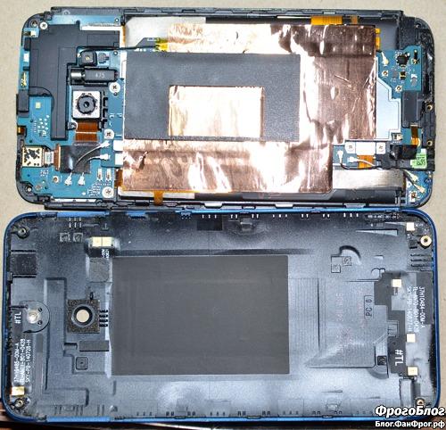 Разборка HTC E8 и замена динамика c AliExpress - снятая задняя панель