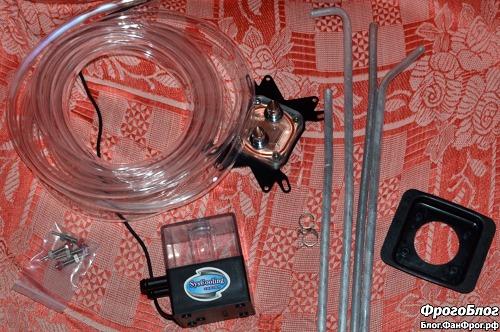 Основные компоненты оригинальной системы водяного охлаждения процессора компьютера