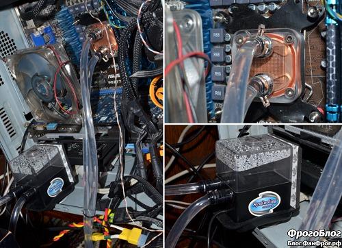 Система водяного охлаждения установлена в системный блок компьютера