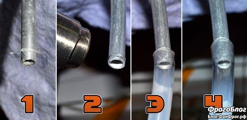 Насаживание шланга на алюминиевую трубку по термоклею
