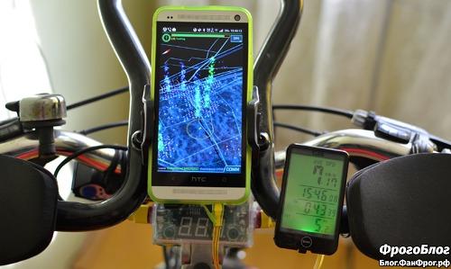Велокомпьютер SunDing SD-576A установлен на руль велосипеда