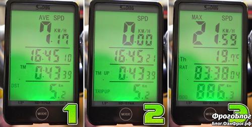 Велокомпьютер SunDing SD-576A -режимы на экране